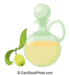 Olive oil icon, cartoon style