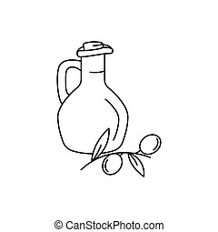 Olive oil icon, outline style
