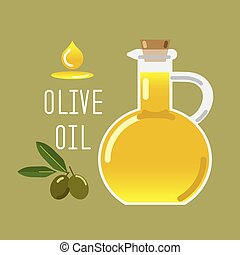 Olive oil in a glass bottle and green olives with leaves.