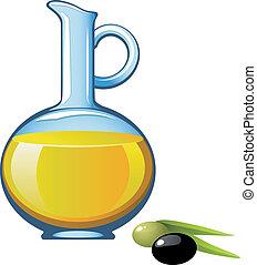 Olive oil in a glass jar. Vector illustration. Over white....