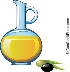 Olive oil in a glass jar. Vector illustration. Over white. ...