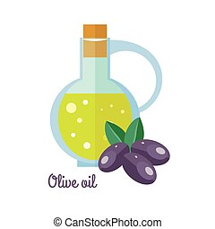 Olive Oil in Bottle with Black Olives Flat Design