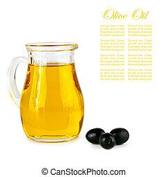 olive oil in glass jar and black olives over white...