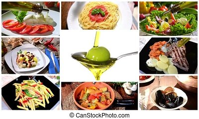 olive oil in mediterranean cuisine - collage including...