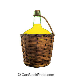 Olive oil in old carboy isolated