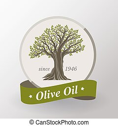 Olive oil label. Flat design.