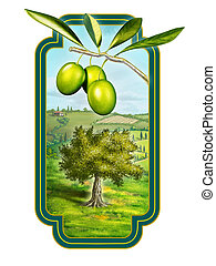 Olive oil label with a beautiful country landscape. Digital ...