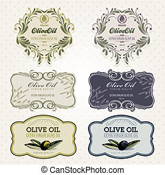 Set of vector retro olive oil label templates