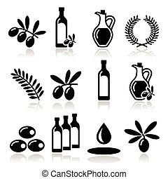 Olive oil, olive branch icons se - Food vector icons set -...