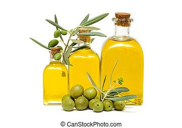olive oil - Olive oil and olives on white background