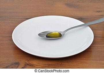 Olive oil on spoon