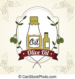 olive oil over pink background vector illustration