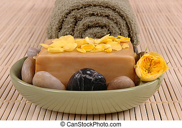 Olive Oil Soap - olive oil soap, pebbles and petals