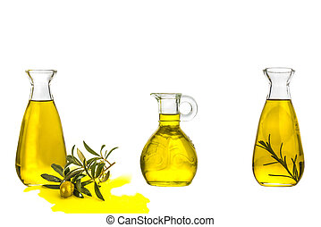 Olive oil three glass bottles isolated