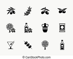 Olive oil vector icons
