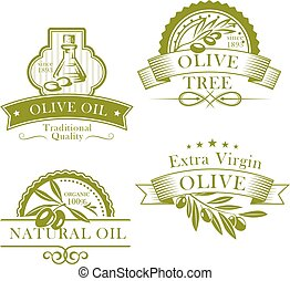 Olive oil vector product template icons set
