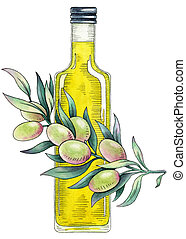 Olive oil. Watercolor illustration