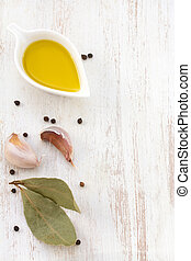 olive oil with garlic and pepper
