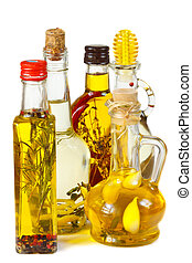 Olive oil with herbs and spices.