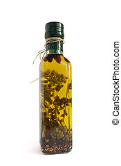 Olive oil with herbs and spices - Homemade olive oil with...