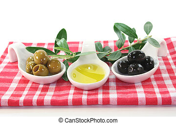 Olive oil with olives