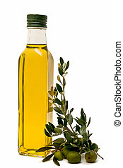 olive oil with olives and olive branches - collection of ...