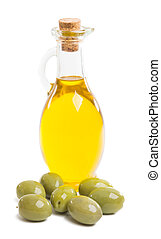 olive oil with olives isolated