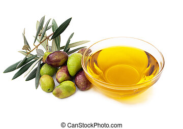 olive oil with olives isolated on white