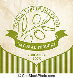 olive, ouderwetse , olie, label.
