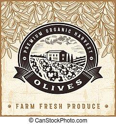 olive, ouderwetse , oogsten, etiket