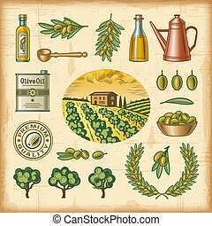 olive, ouderwetse , set, oogsten, kleurrijke