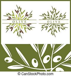 Olive pattern and elements - Vector illustration of olives...