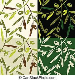 Olive patterns - Vector illustration of olives retro pattern