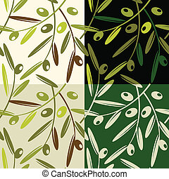 Olive patterns - Vector illustration of olives retro pattern