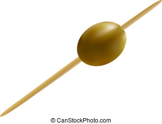 Olive, pinned on a cocktail skewer, isolated
