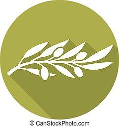 olive, plat, branche, icône