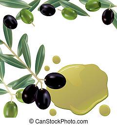olive, réaliste, huile, fond