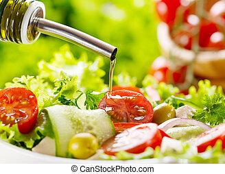 olive, rüber gießen, oel, salat