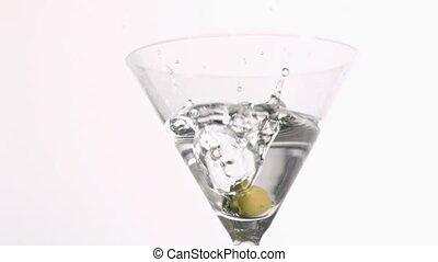 olive, ralenti, super, tomber