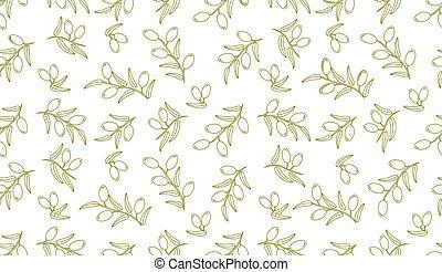 Olive seamless pattern. Vector decorative olive branch.