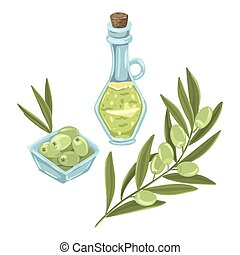Olive set. Bottle of olive oil and a branch of green olive, a plate with a snack to drink. Vector isolated illustration.