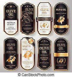 olive, set, etiketten, premie, olie