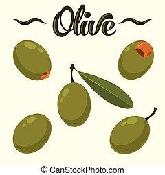 Olive set. Hand drawn olives