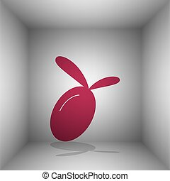 Olive sign illustration. Bordo icon with shadow in the room.