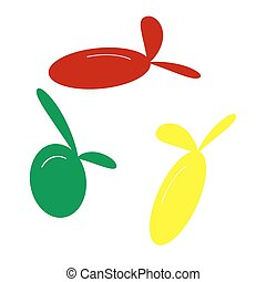 Olive sign illustration. Isometric style of red, green and yellow icon.