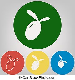 Olive sign illustration. Vector. 4 white styles of icon at 4 colored circles on light gray background.
