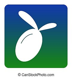 Olive sign illustration. Vector. White icon at green-blue gradient square with rounded corners on white background. Isolated.