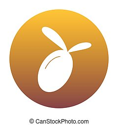 Olive sign illustration. White icon in circle with golden gradie