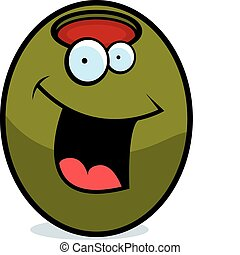 Olive Smiling - A cartoon green olive happy and smiling.