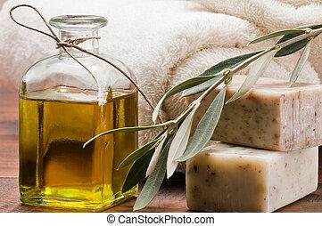 Olive oi,l soap and bath towel